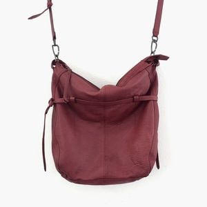 Liebeskind 2 Strap Wine Colored Leather Satchel